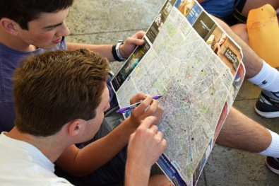 matt and davis look at the map
